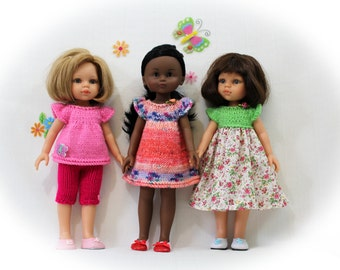"""Knitting pattern for dress, top and shorts, pattern for knit and sew dress for Corolle Les Cheries doll 13"""" and Paola Reina doll 12"""""""