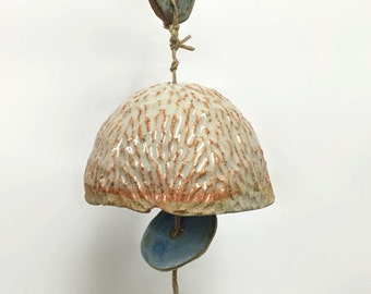 ceramic bell // beige and matte blue glazes // outdoor & indoor decorative