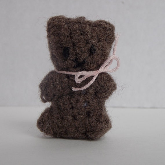 Amigurumi Little Teddy Bear : Brown bear tiny crochet amigurumi teddy bear little bear