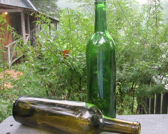 Two Vintage Wine Bottle - Brown and Green - Barware - Suncatchers