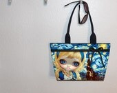 Van Gogh inspired Alice in Starry Night, WIDE tote bag, Jasmine Becket, book tote, large purse, canvas tote, shoulder bag