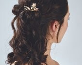 Rose Gold Leaf Headpiece | Blush Wedding Hair Accessories | Rose Gold Pearl Bridal Hair Comb [Iverness Hairpin: Rose Gold]