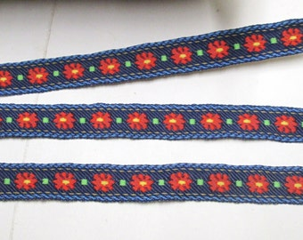 Embroidered Braid 4-25yd Trim Jacquard Ribbon Floral Tape Vintage Swedish Woven Boho Strap Red Blue Yellow Purse Strap Lanyard Yardage BTY