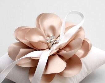 Taupe ring pillow, flower wedding ring pillow, bridal ring bearer, wedding decor - Sellena