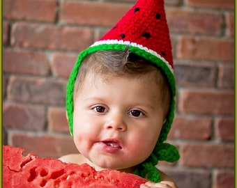 Crochet Watermelon Birthday Hat Pattern, Baby Hats Crochet Patterns, Cone Hat Pattern, Costume Photography Props Hat, Birthday Theme Party