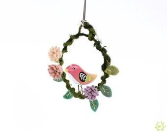 Pink Bird Small Floral Wreath - felt flower wreath, wall hanging, holiday tree ornament, wall decor, folk art bird decoration