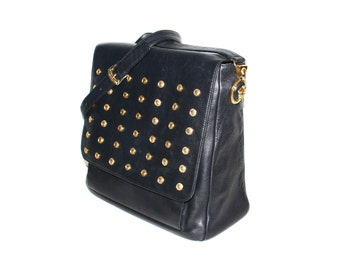 GIANNI VERSACE Couture Vintage Medusa Bag Black Leather Gold Studded Crossbody Tote - AUTHENTIC -