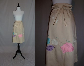 70s Wrap Skirt - Beach Theme - Appliqued Seashells Seagulls Starfish Sand Dollar - Vintage 1970s - L