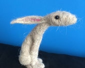 Needle felted moon gazing hare sculpture