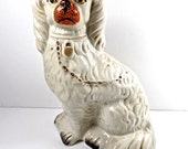 19thC Staffordshire Seated White Spaniel