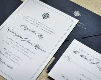 Wedding Invitation - Nautical - Navy - Seaside - Compass - Nautical Wedding - Compass Rose