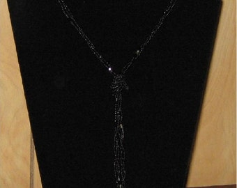 3 Strand Black Seed Bead Necklace Twisted Together to Make a Spiral.