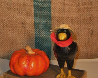 Hand Carved Black Crow and Pumpkin - Hand Carved and Hand Painted Pumpkin and Crow - Tabletop Autumn Decorations