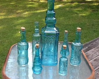 7 blue bottles blue centerpiece almost aqua glass bottles wedding decor blue vases bud vases blue