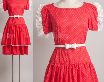 Vintage Red Dress, Babydoll dress, Swiss dot dress, 80s dress, Summer dress - M/L