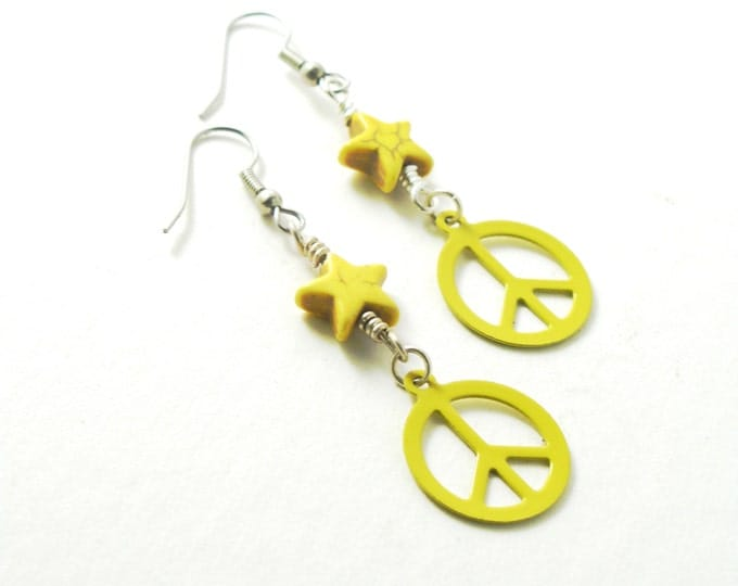 Yellow Howlite Stars on Sterling Silver and Enameled Yellow Metal Peace Sign Earrings on Sterling Silver or Stainless Steel Ear Wires