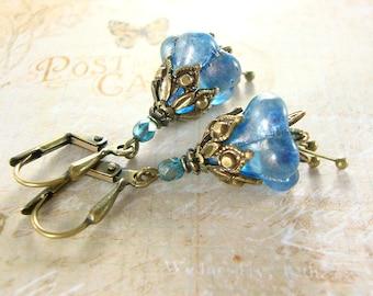 Shimmery Blue Flower Earrings - Neo Victorian Flower Earrings - Antique Brass Flower Jewelry Bronze Flower Bead Earrings Unique Gift Jewelry