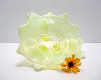 Vintage Northwood Glass Bowl - Northwood Yellow Vaseline Opalescent - Klondyke - Fluted Scrolls - Vaseline Glass