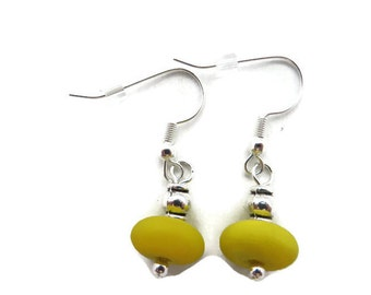 Bright Yellow Dangle Earring, Yellow Earring, Yellow and Silver Dangle, Goldenrod Earring, Yellow Drop Earring, Pittsburgh Sports Earring