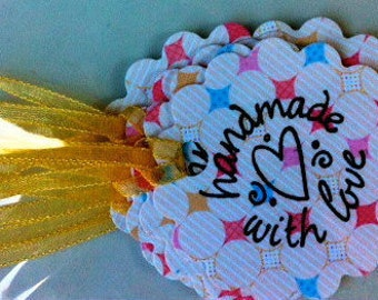 Handmade with love gift tag - yellow ribbon