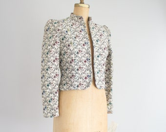 80s floral tapestry cropped jacket