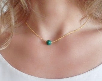 Natural Chrysocolla Necklace. Sterling Silver Gold Plated Chain. Minimalist Jewelry. Delicate Necklace. Green Necklace. Simple Jewelry.