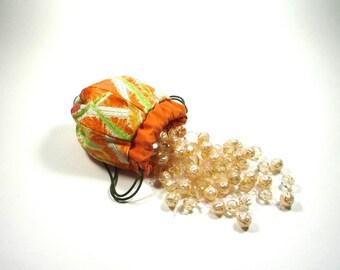 """KIMONO Small POUCH, """"Balloon"""", vintage kimono, silk, based on Japanese Traditional Ornament"""