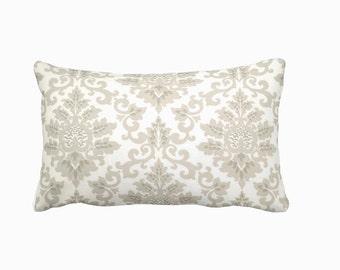 Taupe Throw Pillow Cover Taupe Pillow Cover Beige Pillows Damask Pillows Lumbar Pillows Decorative Pillows for Couch Pillows Accent Pillows