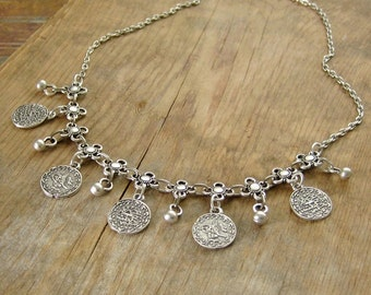Ethnic Coin Necklace - Silver Boho Choker, Bohemian Necklace, Gypsy, Belly Dancer, Hippie, Festival Jewelry