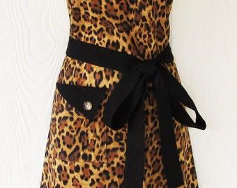 Leopard Print Apron, Animal Print Apron, Womens Full Apron, Retro Style Apron, KitschNStyle