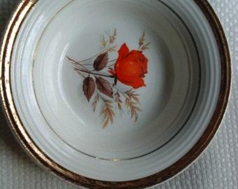 Two Triumph American Limoges Vermillion Rose Fruit/Sauce Bowls