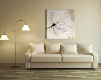 White Wall Decor Oil Painting, Living Room Decor Flower Painting, White Wall Art Painting, Large Canvas Art, Canvas Art Oil Painting Flowers
