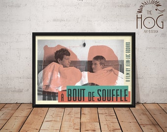 À Bout De Souffle Poster - Breathless Print - Quote Retro Movie Poster - Movie Print, Film Poster, Wall Art, Jean-Luc Godard Print