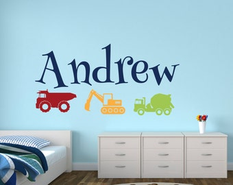 Truck Name Wall Decal - Personalized Name Wall Decal - Construction Trucks Wall Decal - Kids Room Decor Vinyl Wall Decal