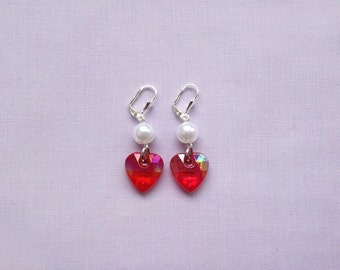 Doll Heart earrings - red, hot pink, light pink