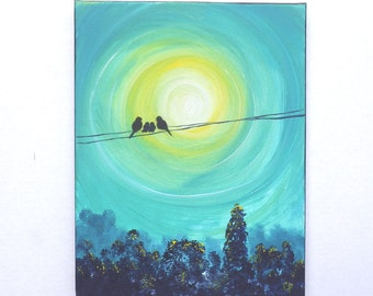 Bird family art, bird on a wire art painting with teal and yellow tones. Vertical 11x14 painting. Four birds on wire