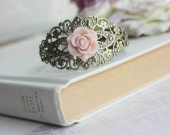 Pink Rose Flower Lace Filigree Cuff Bracelet, Rustic Vintage, Floral Filigree, Adjustable Cuff Bracelet. Bridesmaid Gifts. Wedding Bracelet