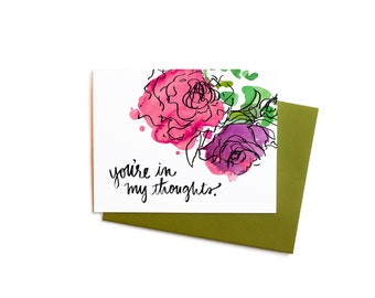 Thinking of You/ Sympathy Notes Boxed Set, Watercolor Flowers You're In My Thoughts with Handwritten Typography,