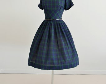 Vintage 1960s Dress...BOBBIE BROOKS Blue Plaid Cotton Day Dress Dead Stock Autumn