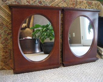 Vintage Traditional Wood Framed Mirror / Vintage Oval Mirror in Rectangular Wood Frame / Vintage Wall Mirror