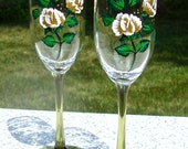 Painted Champagne Glasses With Gold Roses And Wine Charms, Golden Anniversary Glasses, Wedding Glasses, Mothers Day Gift