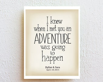 "Winnie the pooh quote ""ADVENTURE"" love quote wall art print, Personalized couples wedding sign, One-of-a-kind anniversary wedding gift"