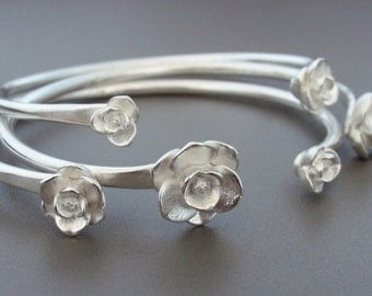 Set of 3 Magnolia Cuff Bracelets   Hand-Sculpted & Cast Magnolias, Hand-Forged Cuffs   Solid Sterling Silver   Medium Wrist
