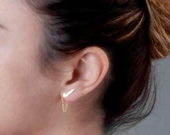 Ear Jacket Earring, Chain Earrings, Front Back Earrings, Chevron Studs, Sport Girl, Jacket Earrings Silver, Chain Earrings Gold, Rose Gold