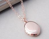 Rose Gold Locket Necklace, Rose Gold Necklace, Small Gold Locket, Oval Locket Gold, Plain Locket, Rose Gold Long Necklace, Rose Gold Jewelry