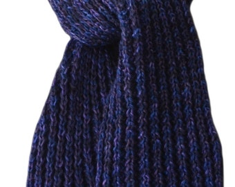 Hand Knit Scarf - Navy Black Purple Cashmere Silk Wind River Rib