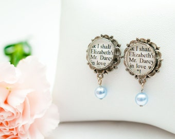 Jane Austen - Pride and Prejudice Pearl Drop Earrings - Jane Austen Jewelry - Pride and Prejudice Book Earrings - Literary Wedding Jewelry