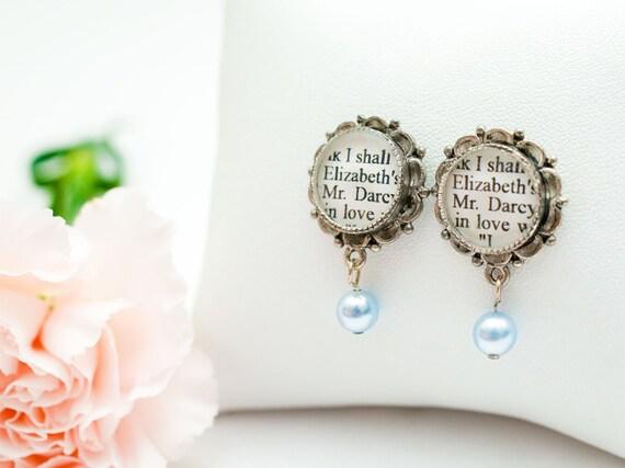 Pride and Prejudice Earrings - Jane Austen - Pearl Drop Earrings - Pride and Prejudice Jewelry - Literary Wedding Jewelry