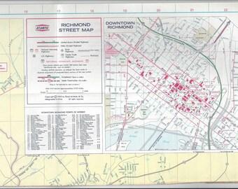 1969 Vintage Atlantic Travel Lithograph Map, Richmond, Virginia, Good Condition, Street Index, Rand McNally, Vintage Road Map, Ephemera Map