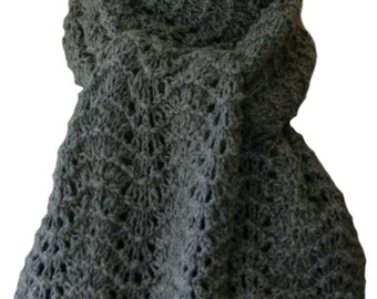 Hand Knit Scarf - Charcoal Grey Hand-Spun Cashmere Feather Fan Lace